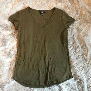 Paige Short Sleeve dark green  V Neck Tee XSMALL